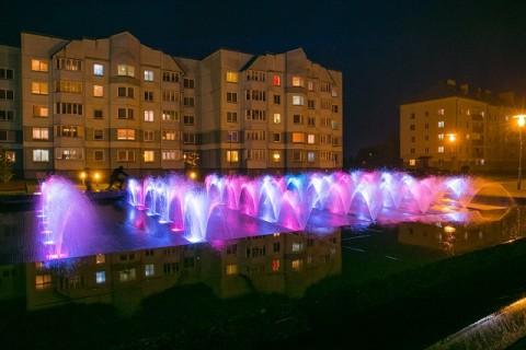 Fountains along Dzerzhinskogo Boulevard in the town of Uzda